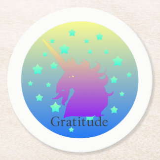 """Ombre unicorn with word gratitude"" Coasters. Round Paper Coaster"