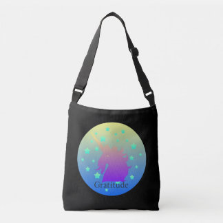 Ombre unicorn with word gratitude crossbody bag