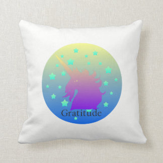 """Ombre unicorn with word gratitude"" Cushion. Throw Pillow"