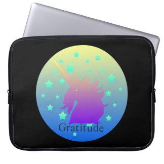 Ombre unicorn with word gratitude laptop sleeve