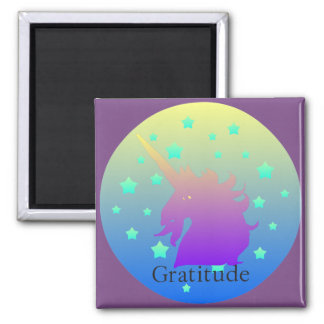 """Ombre unicorn with word gratitude"" Magnet. Magnet"
