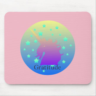 Ombre unicorn with word gratitude mouse pad