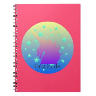 Ombre unicorn with word gratitude notebooks