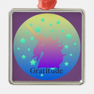 """Ombre unicorn with word gratitude"" Ornament. Metal Ornament"