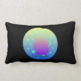 """""""Ombre unicorn with word gratitude"""" Pillow. Lumbar Pillow"""