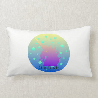 """Ombre unicorn with word gratitude"" Pillow. Lumbar Pillow"