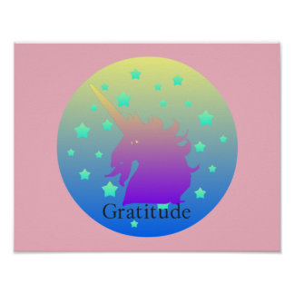 Ombre unicorn with word gratitude poster