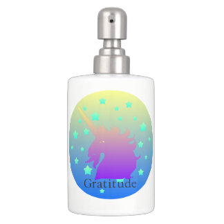 Ombre unicorn with word gratitude. soap dispenser and toothbrush holder