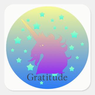 Ombre unicorn with word gratitude square sticker