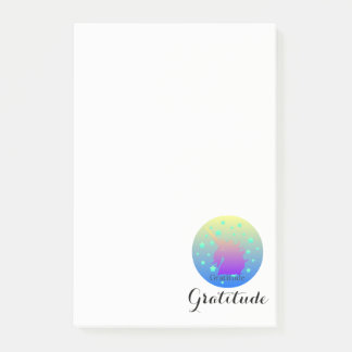Ombre unicorn with word gratitude sticky notes