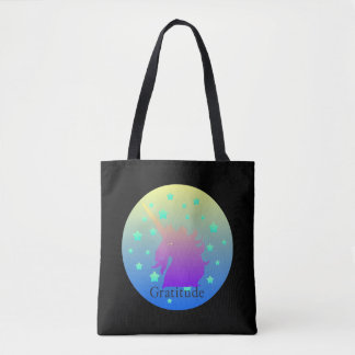 Ombre unicorn with word gratitude tote bag