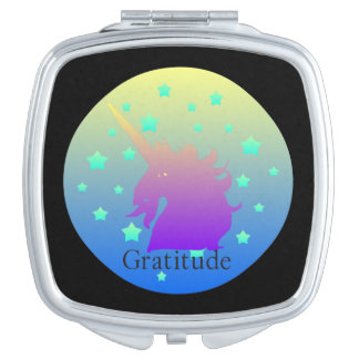 Ombre unicorn with word gratitude vanity mirror