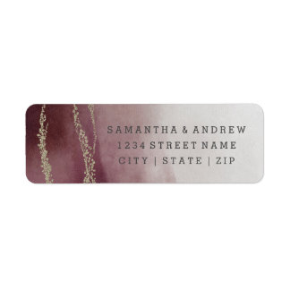 Ombre Watercolor Cranberry Wedding Return Address