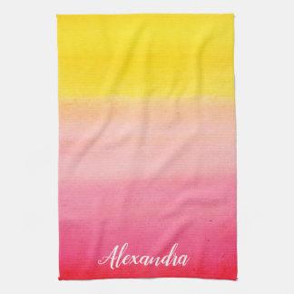 Ombre Watercolor Custom Name Pink & Yellow Towel