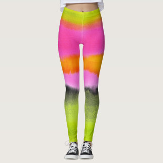 Ombre watercolor ikat hipster neon pink green blac leggings