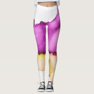 Ombre watercolor ikat hipster neon purple yellow leggings