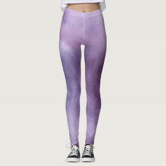 Ombre watercolor ikat hipster pastel purple lilac leggings