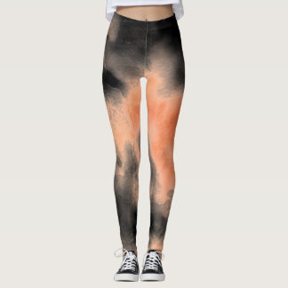 Ombre watercolor ikat hipster peach coral black leggings