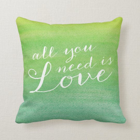 Ombre Watercolor Love Throw Pillow / Lime Emerald