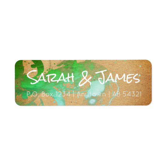 Ombré Watercolor Paint Spatter Gradient Green Mint Return Address Label