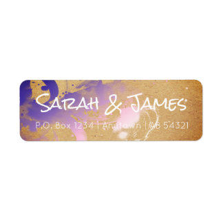 Ombré Watercolor Paint Spatter Gradient Purple Return Address Label