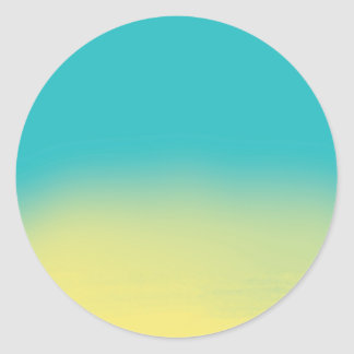 Ombre Watercolor Texture - Teal and Yellow Classic Round Sticker