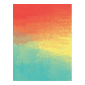 Ombre Watercolor Texture - Teal, Yellow, Coral Postcard
