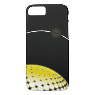 Ombre Yellow White Circles on Black Background iPhone 8/7 Case