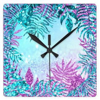 OmbreGlitter Fuchsia Glitter Blue Floral Pink Rose Square Wall Clock