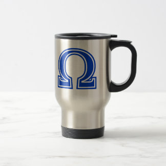 Omega Greek Letter Blue Monogram Initial Travel Mug