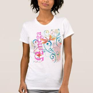 Omega, ornamental swirls+dragonflies+butterflies shirt