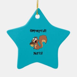Omehgerd Nurts! Squirrel (Oh My God, Nuts) Ceramic Star Ornament