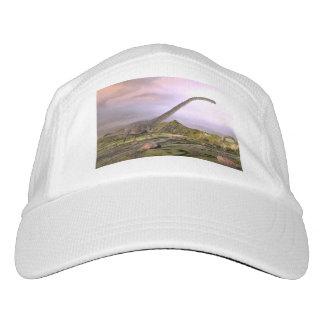 Omeisaurus walking in the desert by sunset hat