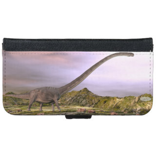 Omeisaurus walking in the desert by sunset iPhone 6 wallet case