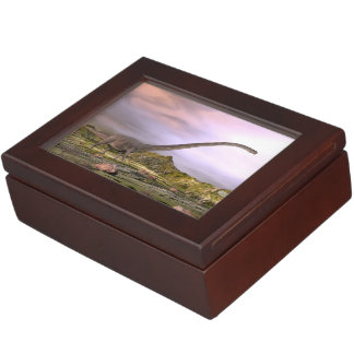 Omeisaurus walking in the desert by sunset keepsake box