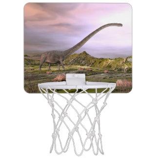 Omeisaurus walking in the desert by sunset mini basketball hoop