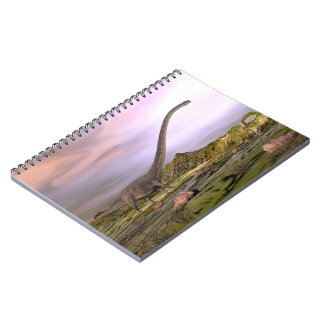 Omeisaurus walking in the desert by sunset notebook