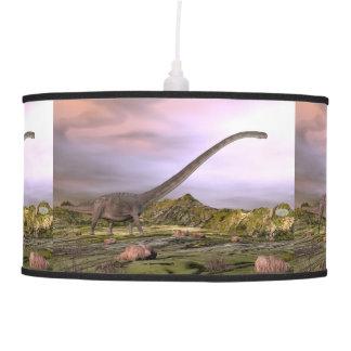 Omeisaurus walking in the desert by sunset pendant lamp