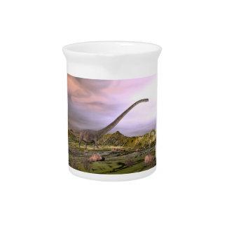 Omeisaurus walking in the desert by sunset pitcher