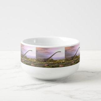 Omeisaurus walking in the desert by sunset soup mug