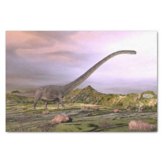 Omeisaurus walking in the desert by sunset tissue paper