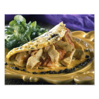 Omelette with dill and vegetables in the photo art