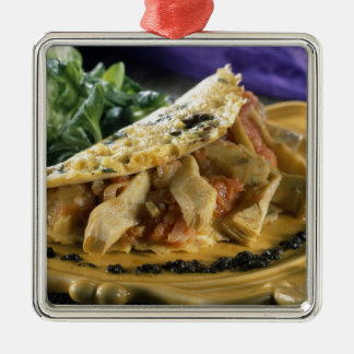 Omelette with dill and vegetables in the Silver-Colored square ornament