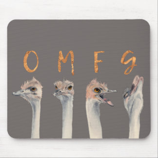 OMFG Ostriches Mouse Pad