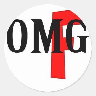 omg classic round sticker