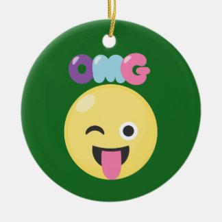 OMG Emoji Ceramic Ornament