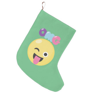 OMG Emoji Large Christmas Stocking