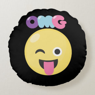 OMG Emoji Round Pillow