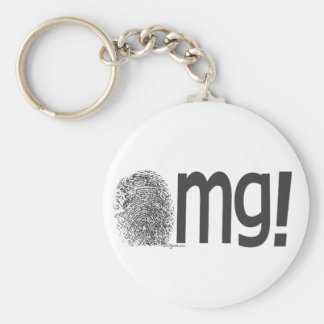 omg fingerprint text basic round button keychain