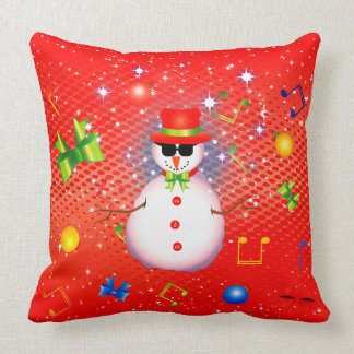 OMG! Funky Snowman Christmas (2 Sided) Throw Pillow